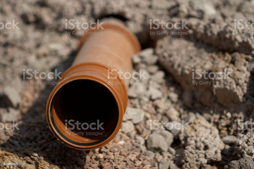 New Sewerage Pipe Installation stock photo