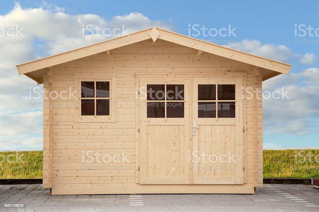 new shed isolated with clippping path stock photo