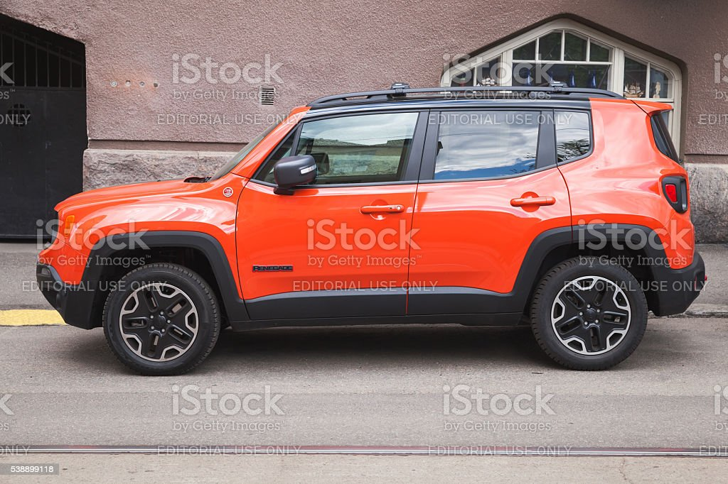 New shining red Jeep Renegade stock photo