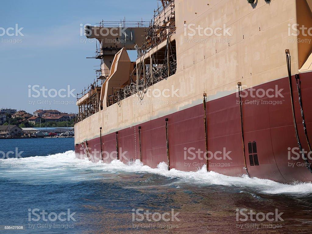 New ship launching stock photo