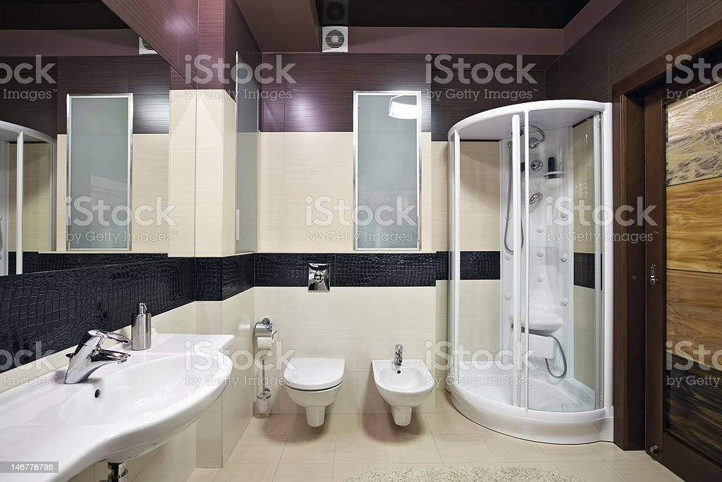 New shower bathroom installation interior with black ceiling royalty-free stock photo