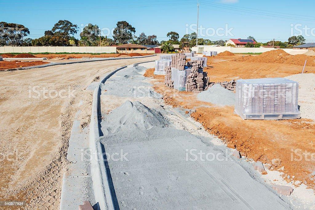 new sidewalk construction stock photo