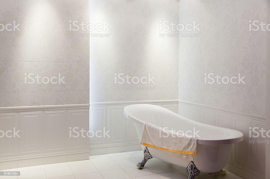 New simple modern bath with bathtub inside royalty-free stock photo