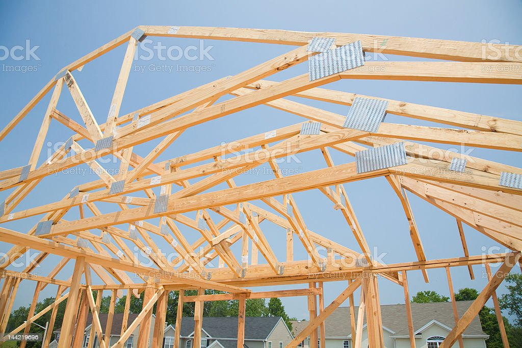 New Single Family House under Construction in Framing Stage royalty-free stock photo