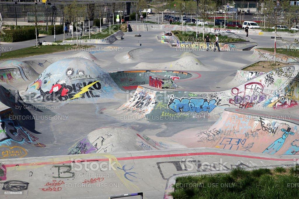 New skateboard park awaiting skaters stock photo