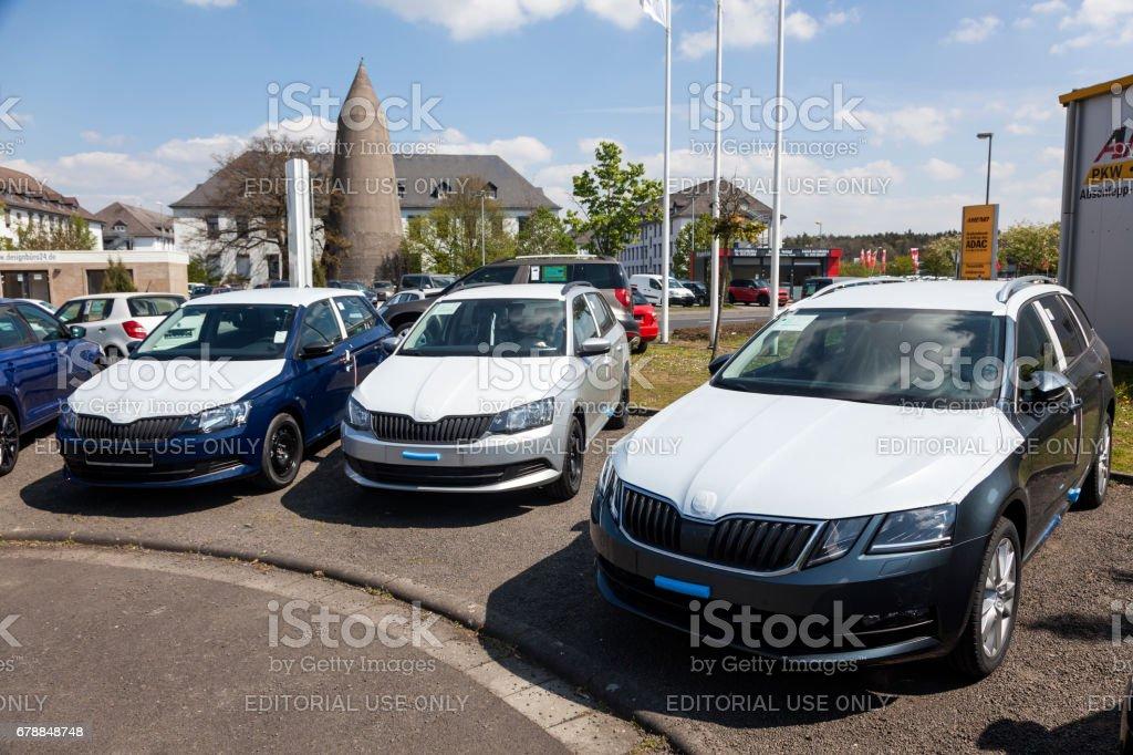 New Skoda Fabia and Octavia cars at a dealership stock photo