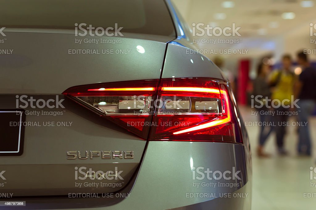 New Skoda Superb in the Prague airport stock photo