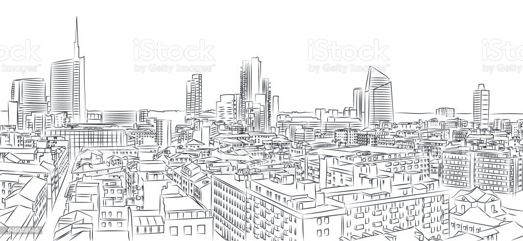 New skyline of Milan, freehand drawing. The Diamond Tower and skyscrapers, Torre Solaria, Unicredit Tower, district of Brera, Italy stock photo