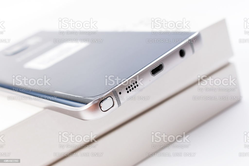 New Smartphone Samsung Galaxy Note 5 with S Pen stock photo