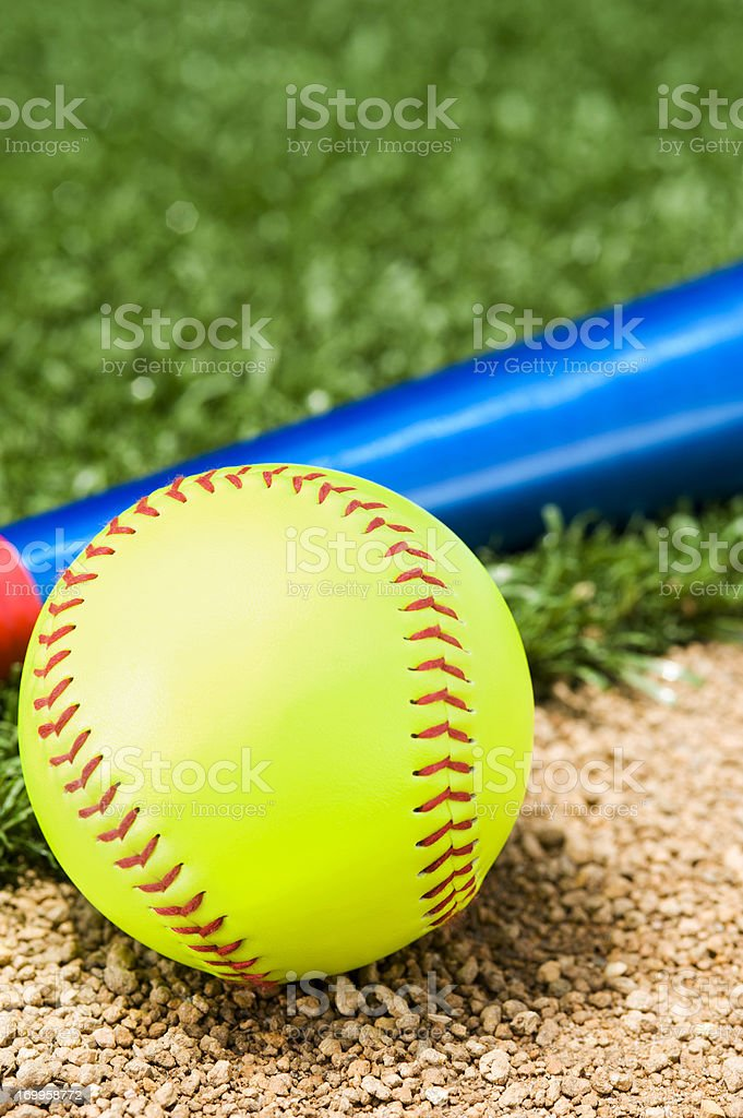 A New \'Fast Pitch\' Softball and bat sitting between the infield grass...