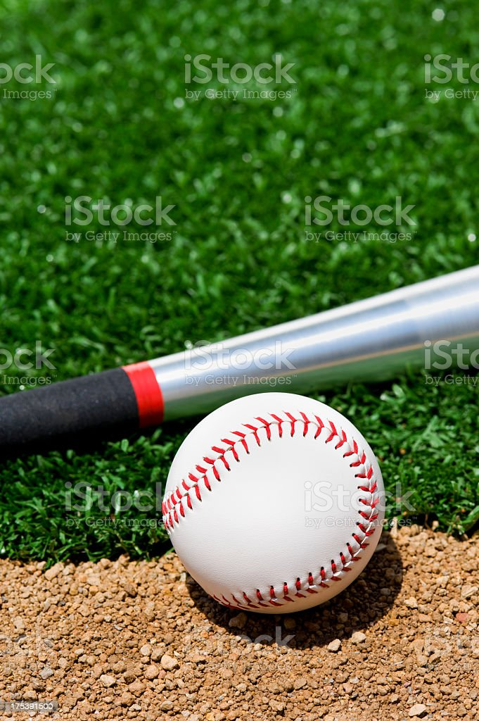 A new softball and bat sitting between the infield grass and dirt of...