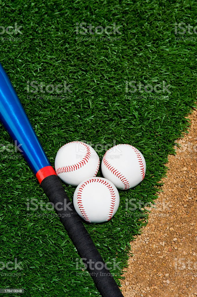 Three new Softballs and a blue aluminum bat sitting between the...