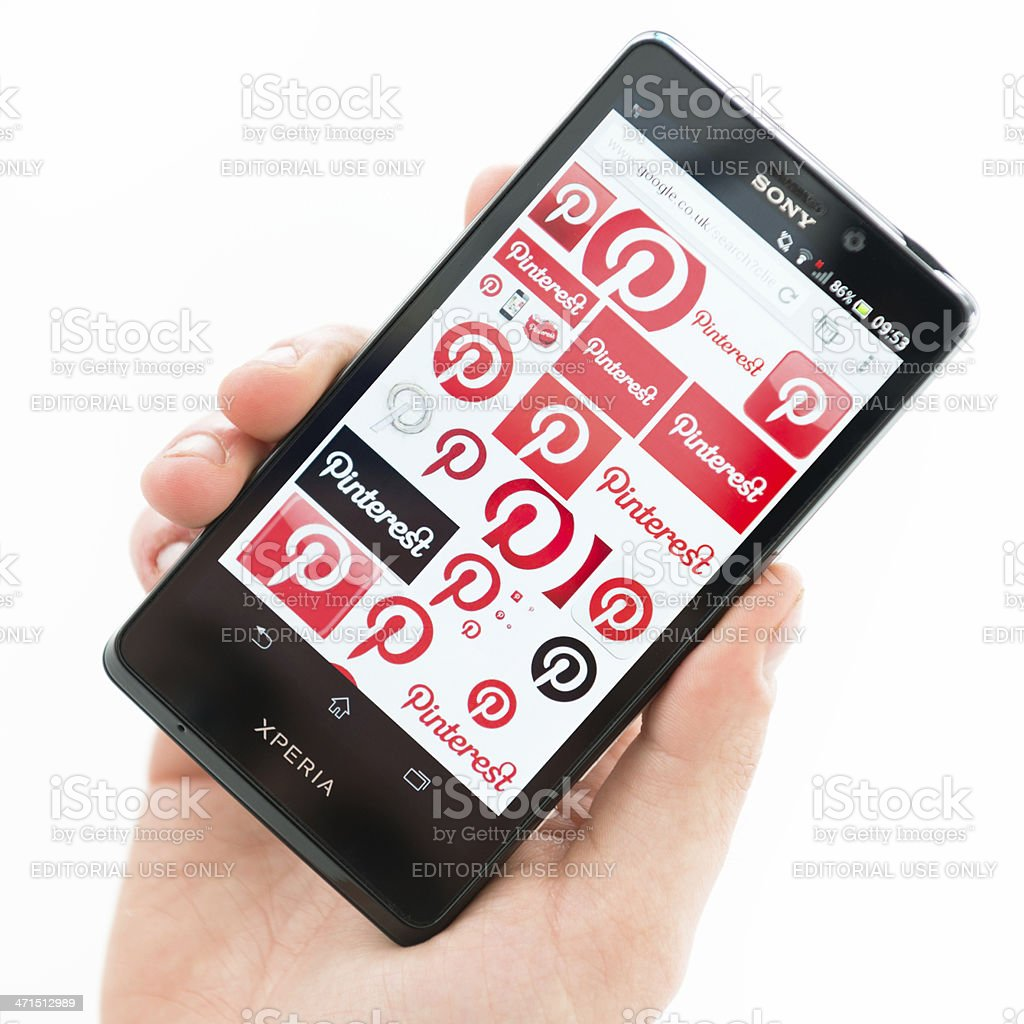 new Sony xperia T with pinterest icons royalty-free stock photo