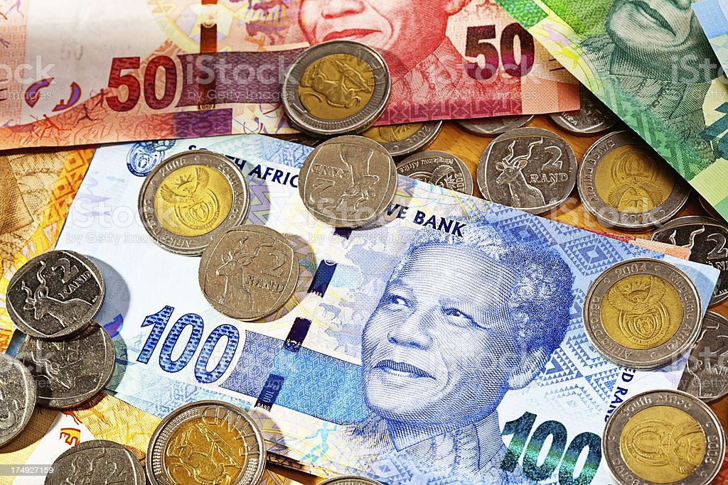 New South African currency with banknotes featuring Nelson Nande stock photo