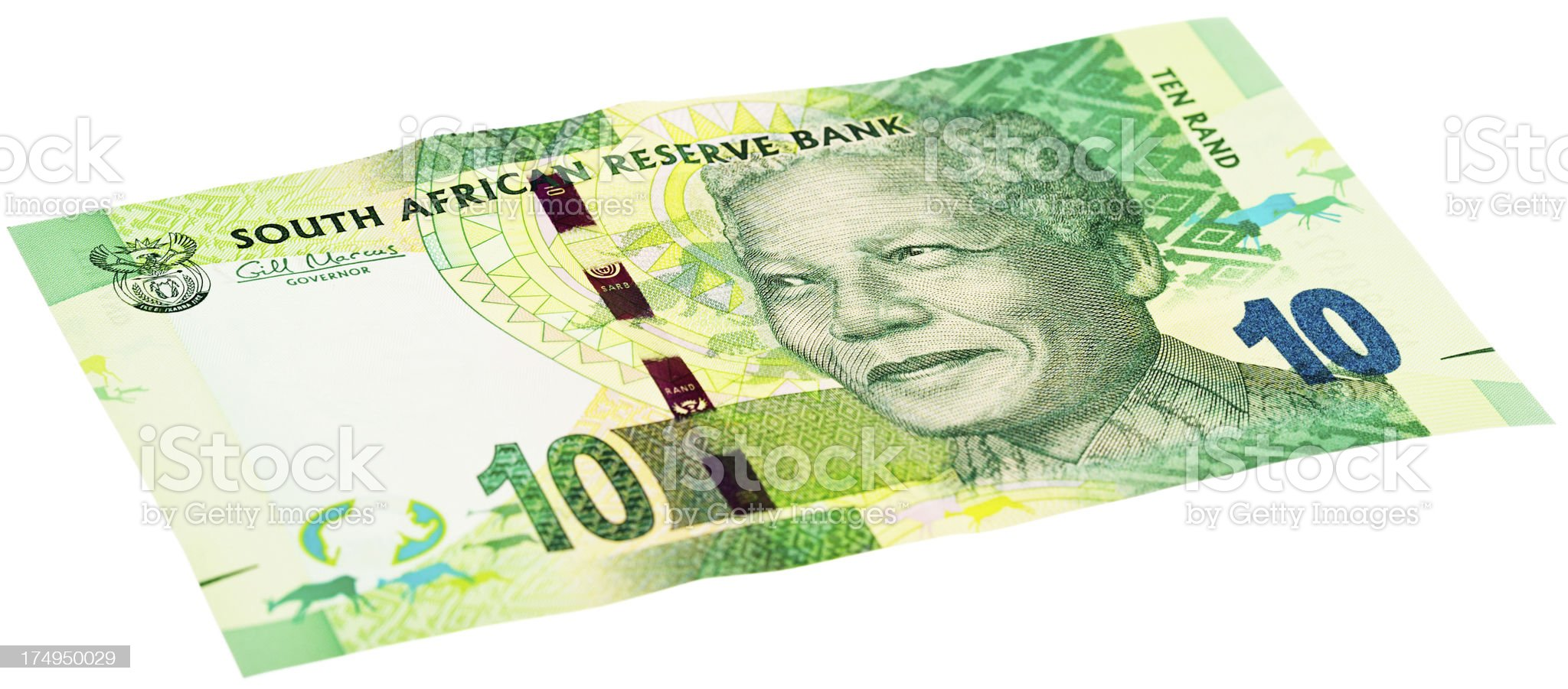 New South African Ten Rand note featuring Nelson Mandela royalty-free stock photo
