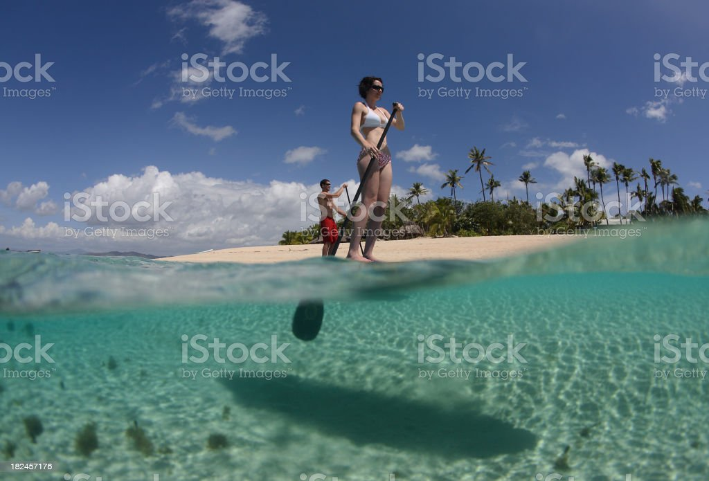 new sports trend  stand-up Paddle boarding stock photo