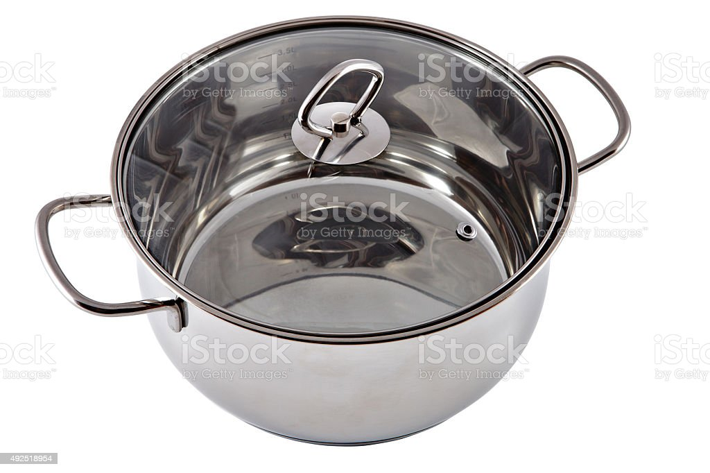 New stainless steel pan with a transparent glass cover. stock photo