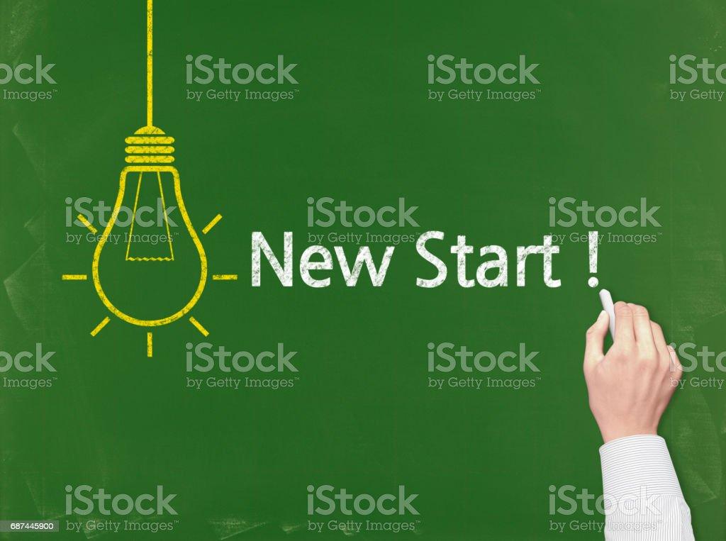 New Start! - Business Chalkboard Background stock photo