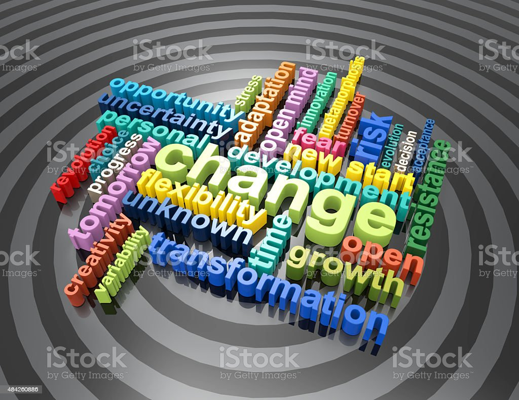 new start,change,risk,personal,growth 3d colorful wordclouds stock photo