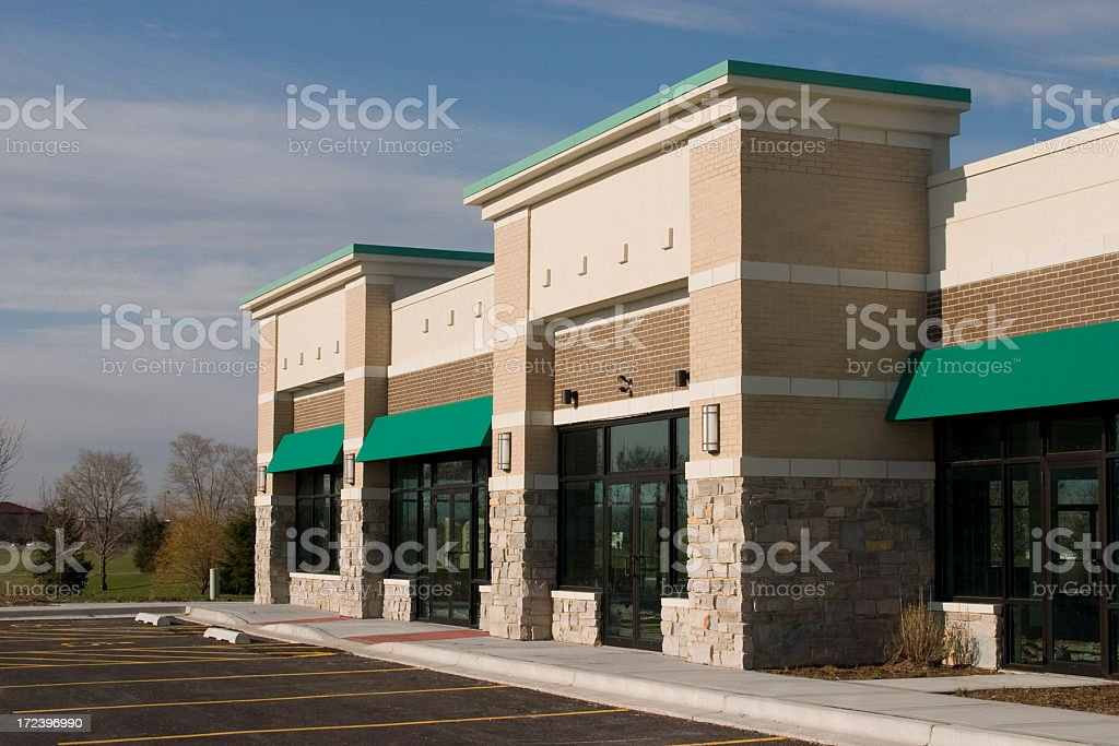 new strip mall closer stock photo