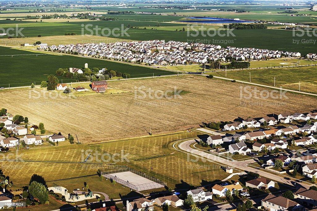 New subdivisions on Northern Illinois farmland royalty-free stock photo