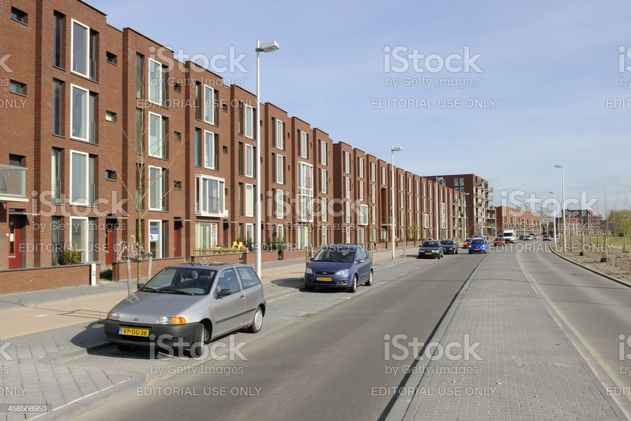 New suburban houses and parked cars in Leidsche Rijn, Utrecht royalty-free stock photo