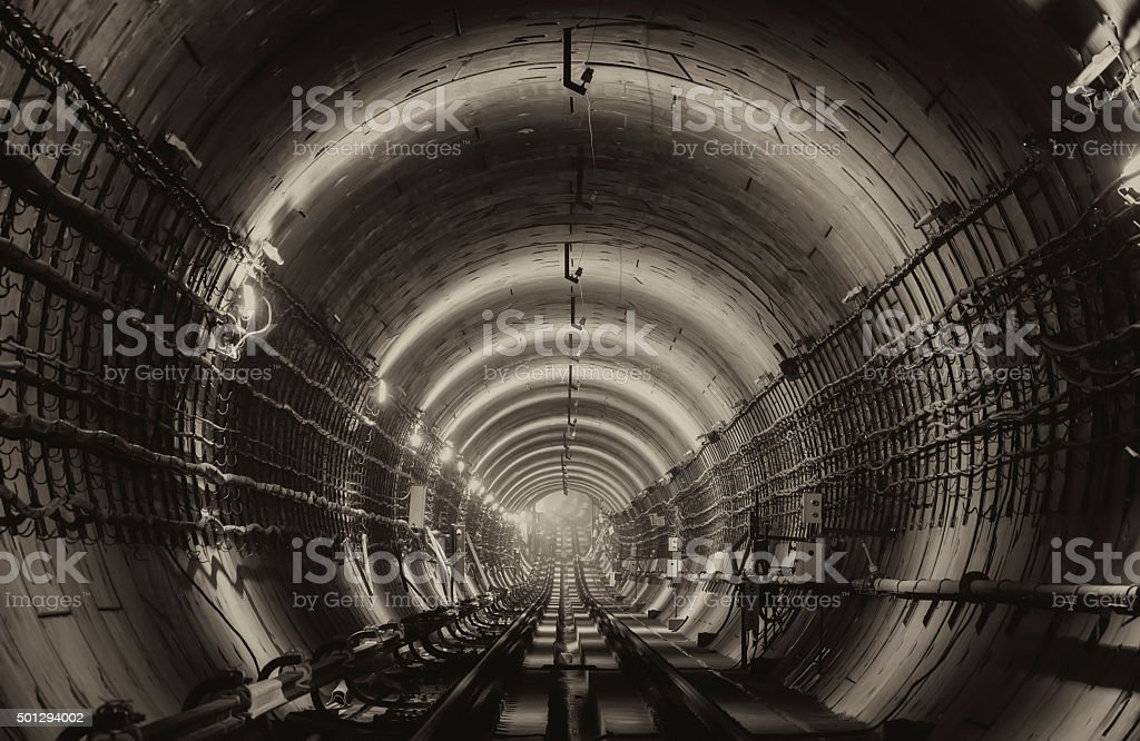 New subway tunnel stock photo