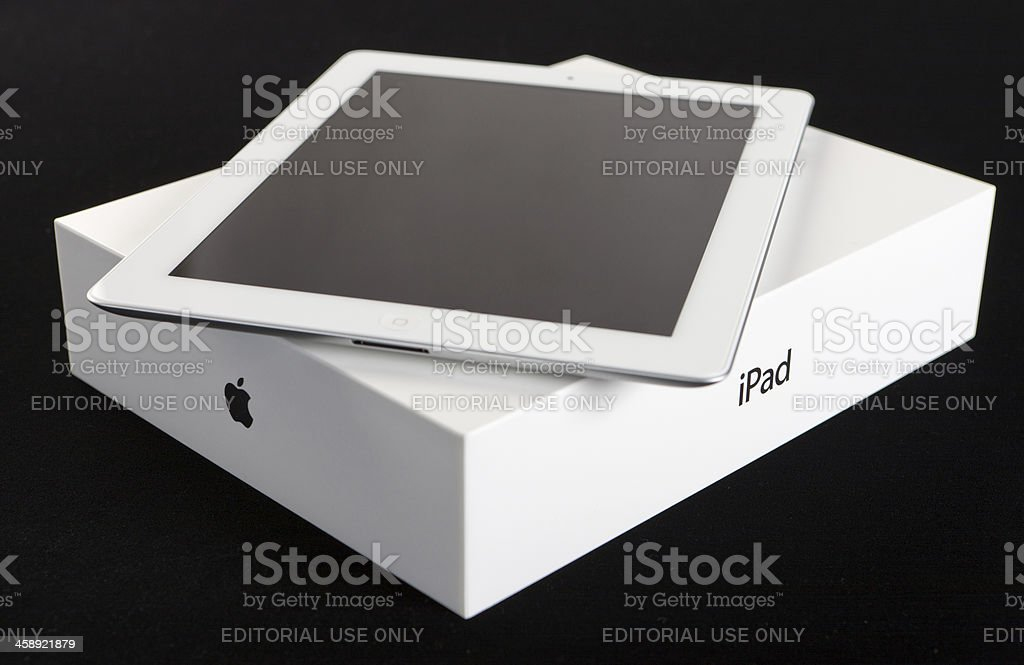 New tablet on packaging with Apple and iPad logos visible stock photo