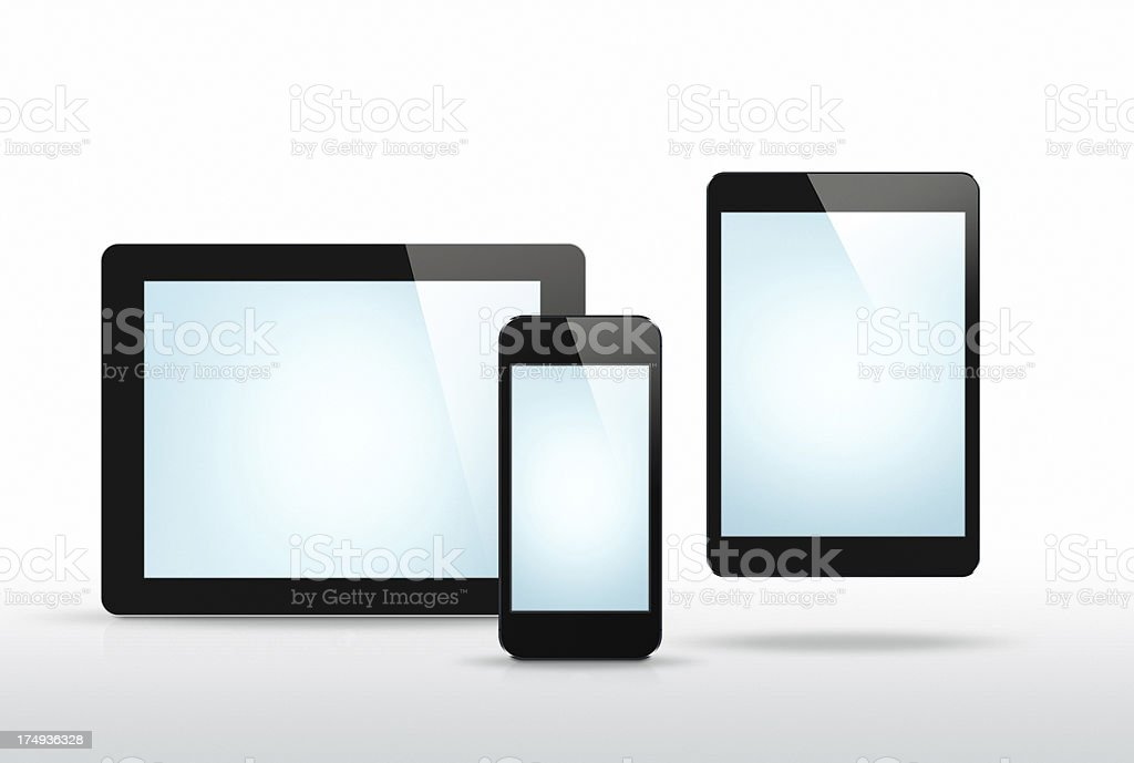 New Tablet, Tab Mini & Phone - 6 Clipping paths royalty-free stock photo