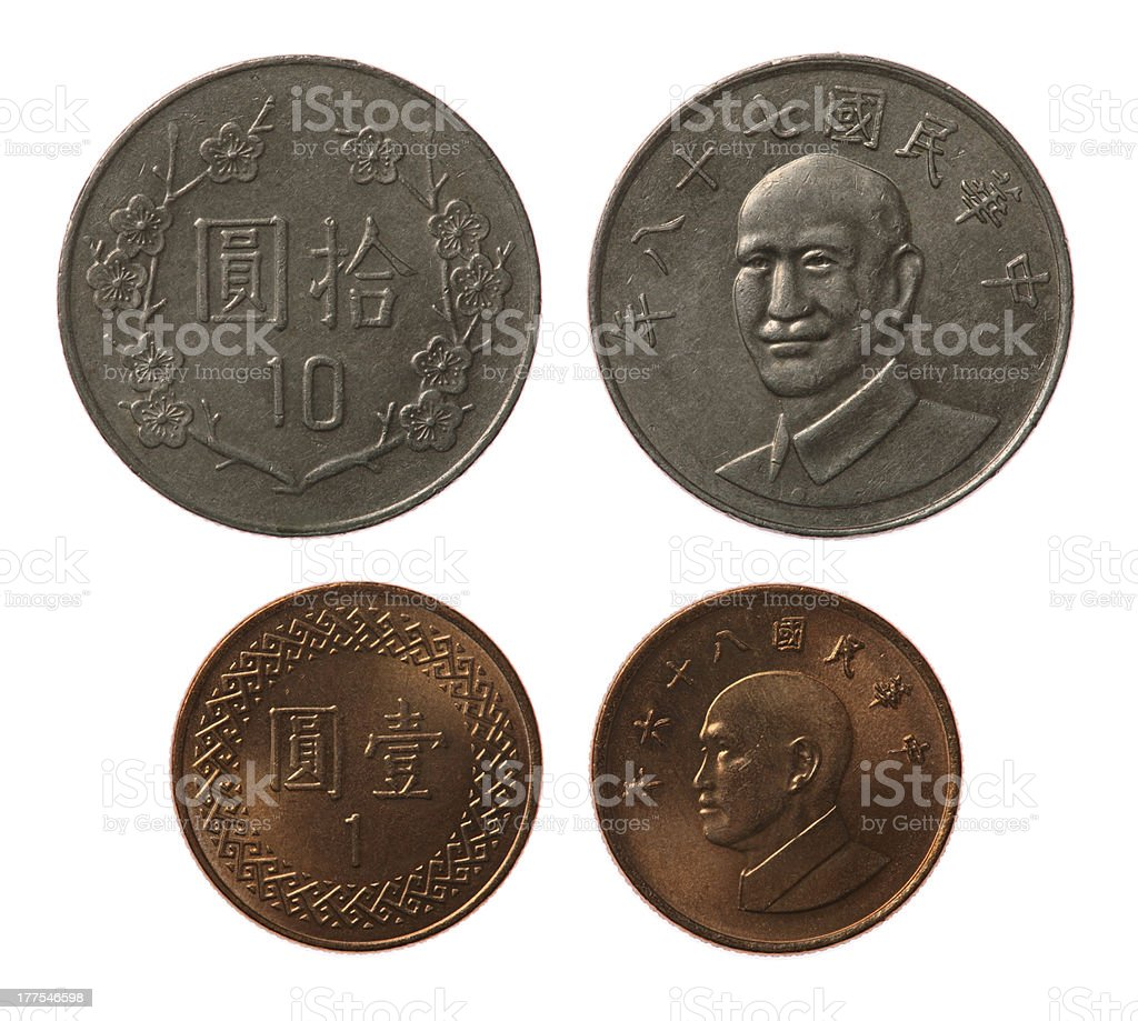 New Taiwan Coins Isolated on White royalty-free stock photo