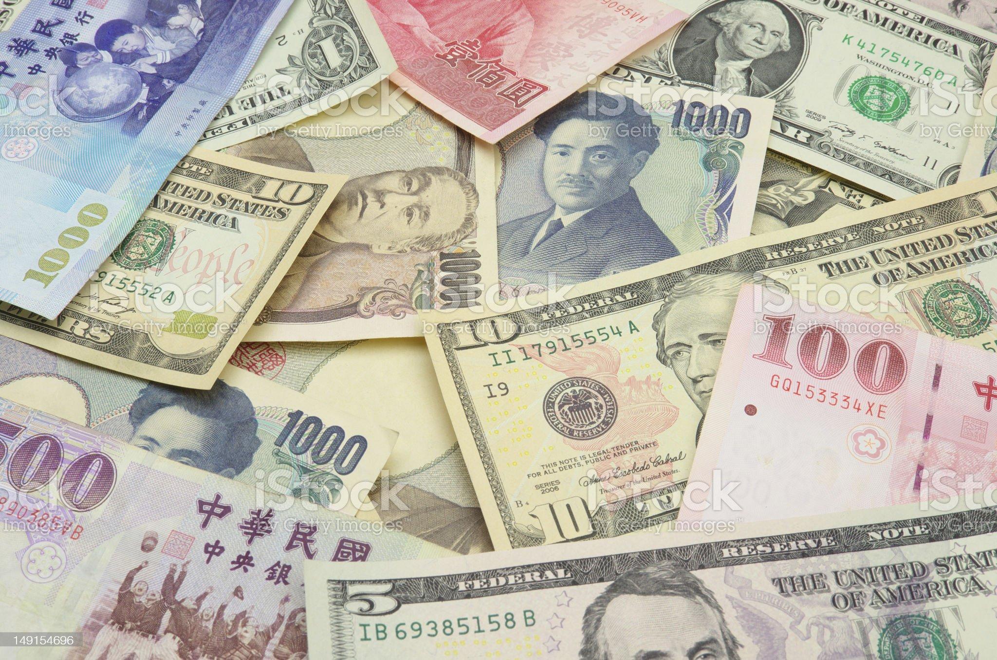 US, New Taiwan dollars and Japanese Yen royalty-free stock photo