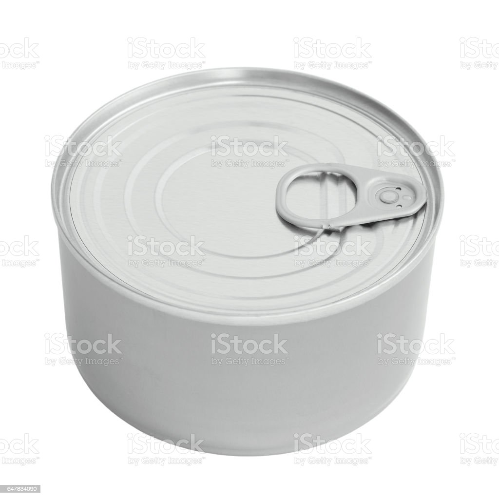 New Tin Can Lid, Food Preserve Ringpull Canister Copy Space, Sealed Top, Isolated Macro Closeup stock photo