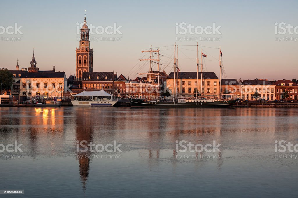 New Tower And Dutch Houses In Town Of Kampen, Netherlands stock photo