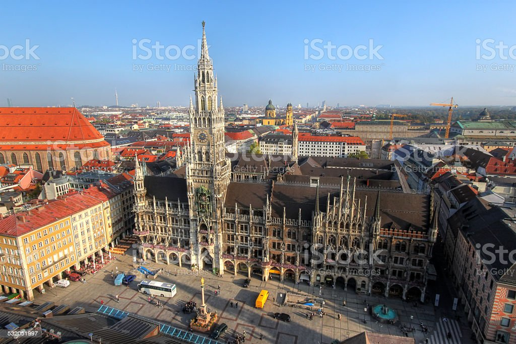 New Town Hall and Marienplatz, Munich, Germany stock photo