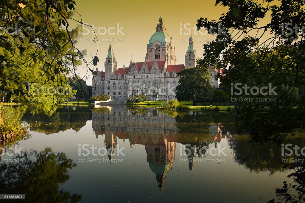 New Town Hall building (Rathaus) in Hannover Germany stock photo