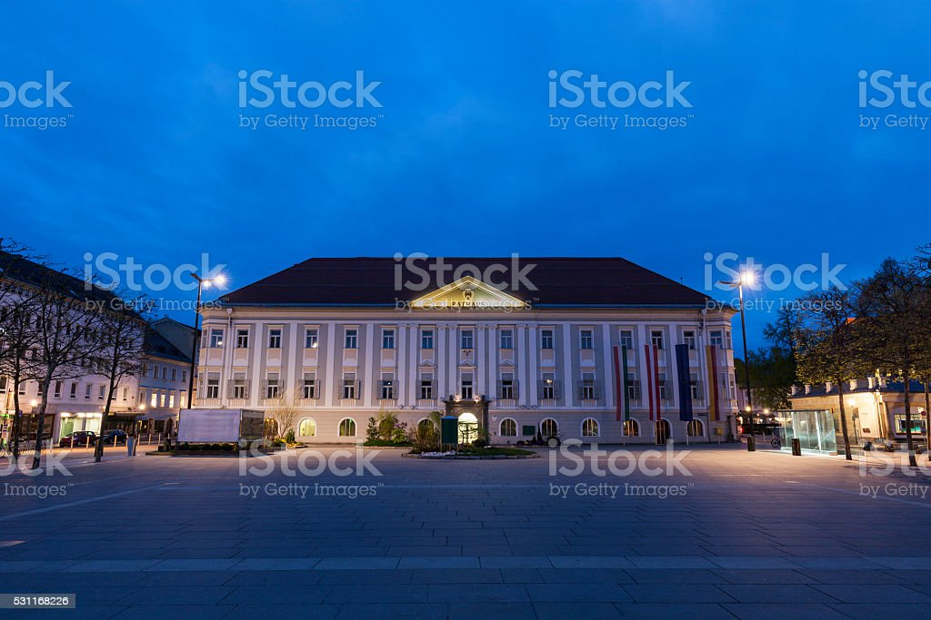 Neues Rathaus on Neuer Platz in Klagenfurt stock photo