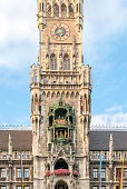 New Town Hall tower, clock and glockenspiel in Munich, Germany
