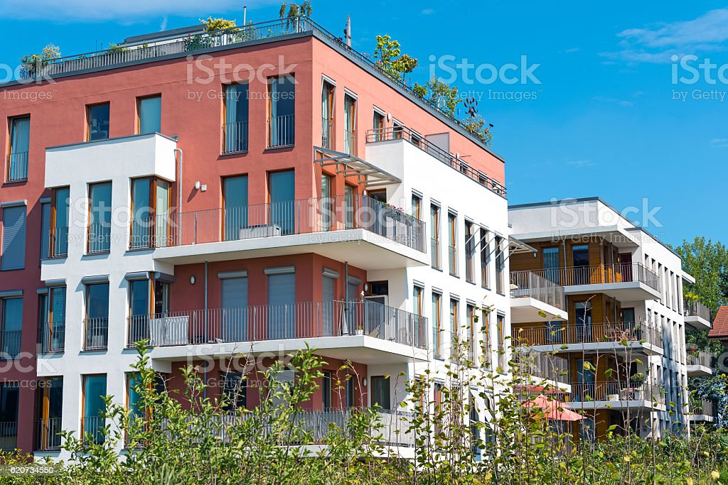 New townhouses seen in Berlin stock photo