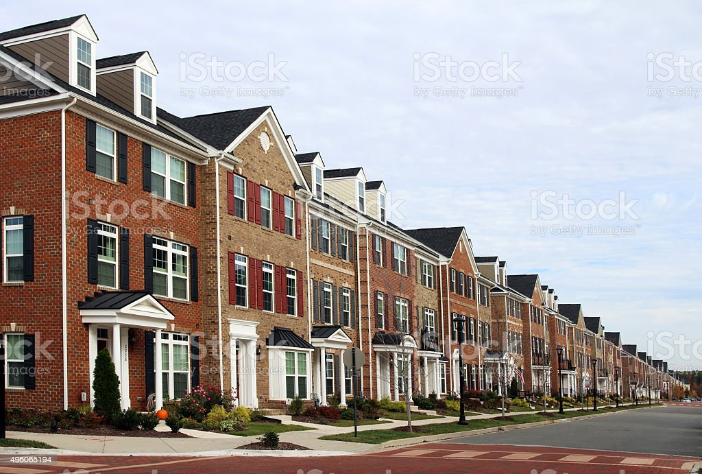 New townhouses, Virginia, USA stock photo