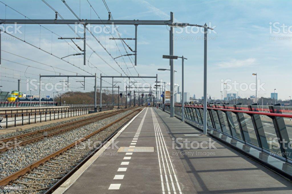 New tracks in New utrecht leidsche rijn station stock photo