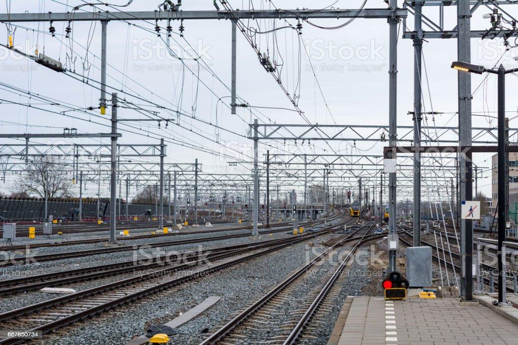 New tracks in Utrecht central station stock photo