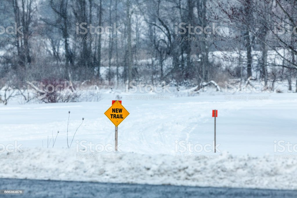 New Trail Snowmobiling Road Sign in Rural Western NY State stock photo