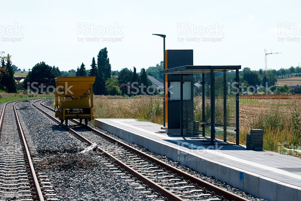 New tram stop stock photo