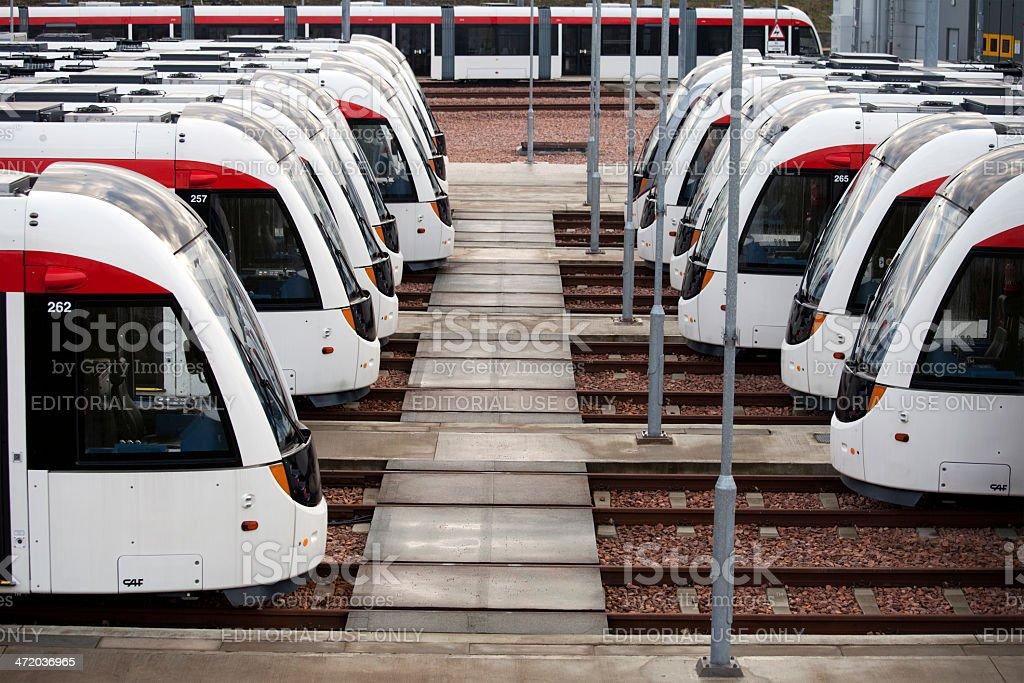 New Trams at the Edinburgh Tram Depot royalty-free stock photo