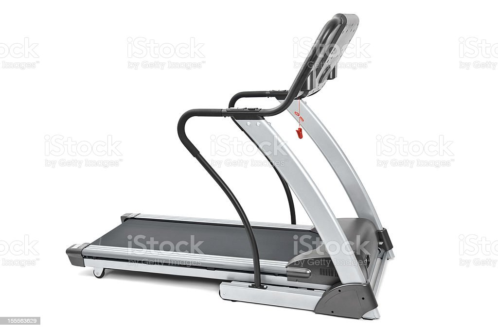New treadmill for cardio workouts on a white background stock photo