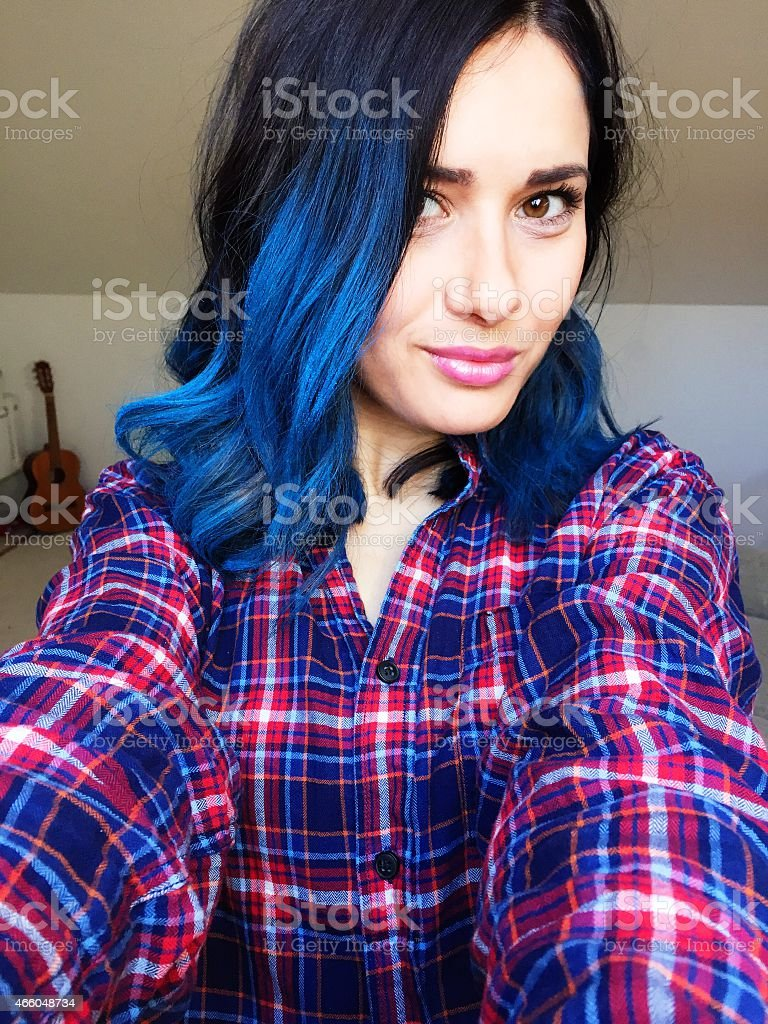 New turquoise hairstyle stock photo