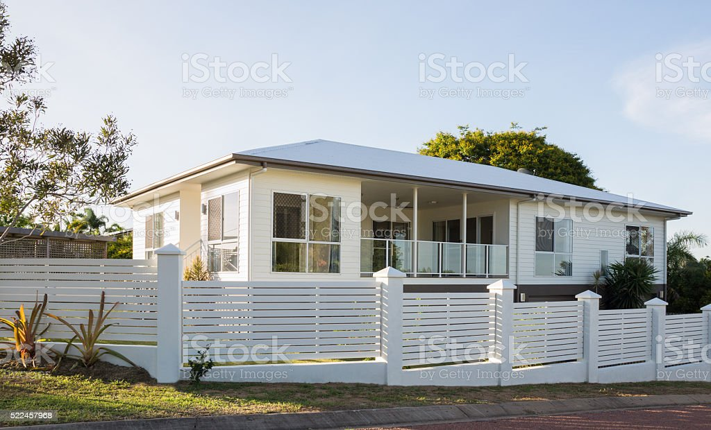 New two storey house stock photo