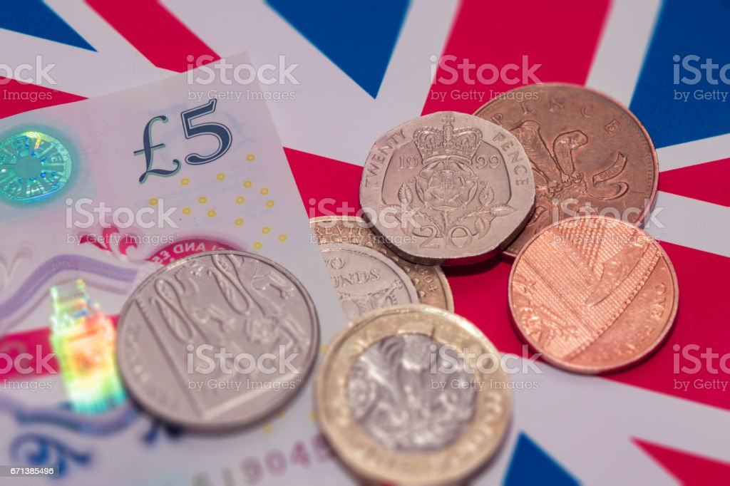 New UK coins and note money in 2017 stock photo