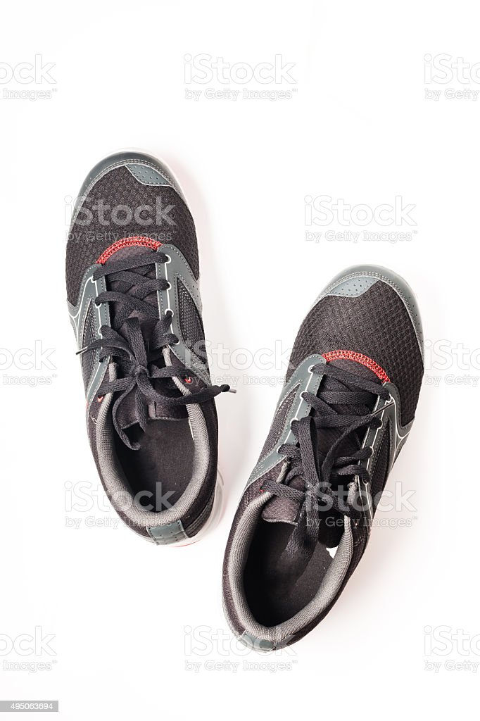 New unbranded running shoe color black, sneaker or trainer isolated stock photo