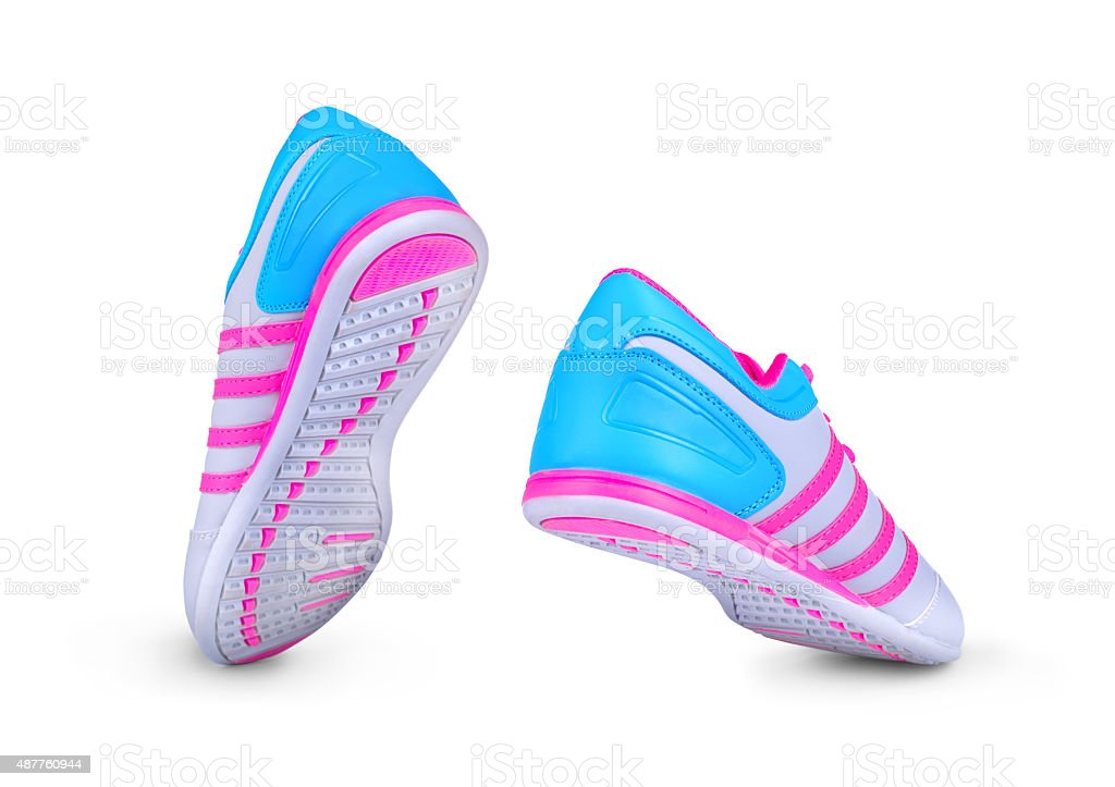 New unbranded running shoe, sneaker or trainer on white background stock photo